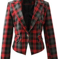 Red Checkered Sheathed Blazer