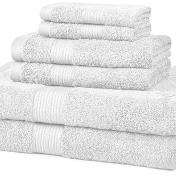 AmazonBasics Fade-Resistant Cotton 6-Piece Towel Set White