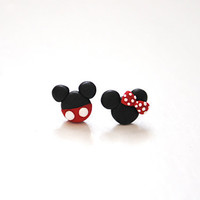 Disney Mickey Minnie Polymer Clay--Earring Studs