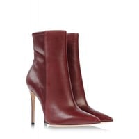 Gianvito Rossi Burgundy Leather Pointed Ankle Boot - Leather Boots - ShopBAZAAR