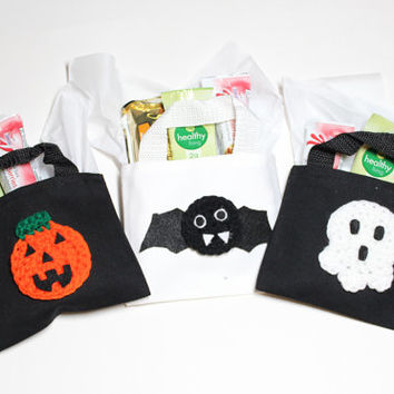 Halloween Trick Or Treat Bags, Halloween Gift Bag Set, Mini Goodie Bags, Candy Totes #goodiebags, #ghost, #pumpkin, #bat