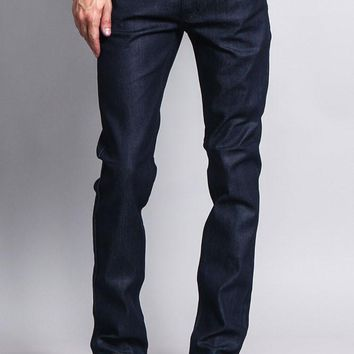 Men's Skinny Fit Raw Denim Jeans (Indigo)