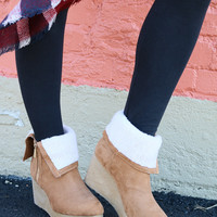Copper Canyon Natural Wedge Bootie With Faux Fur Lining