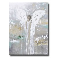 Giclee Print Angel Painting, Blessed w Grace & Joy - Canvas Print, Wall Art, Home Decor