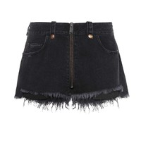 Zipped denim cut-off shorts