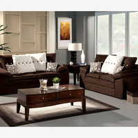 Modern Brown Fabric Sofa Couch Loveseat Soft Living Room Set Pillows