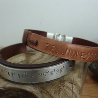 FREE SHIPPING - couple Bracelet. Personalized Hand Stamped Bracelet, Men Gift, Men Leather Bracelet, tumbled copper and Aluminum  Plate