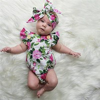 Floral born Baby Girl Clothing Body Tops Onion Headband Flower Overalls Clothes Girls Dresses Women's Beach Suit