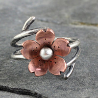 Cherry Blossom Double Wrap adjustable Ring, Spring Jewelry, Blossoms, Gifts for mom, Mothers day jewelry, Gifts under 50