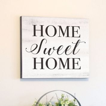 Home Sweet Home, White Rustic Canvas Art, 24x24