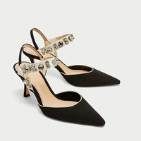 HIGH HEEL SLINGBACK SHOES WITH BEADED DETAIL DETAILS