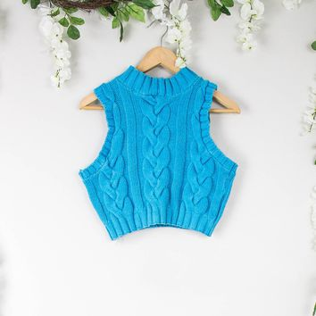 Vintage Teal Knit Halter Top