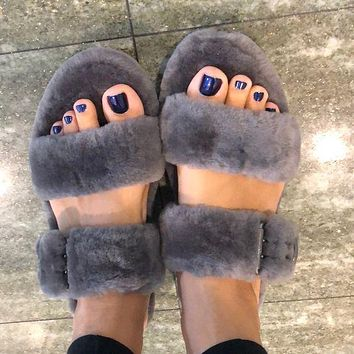 UGG new fashion double pole plush slippers sandals plush slippers Shoes Boots 1