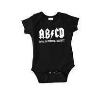 AB/CD funny parody on ac/dc baby onepiece sleeper gift mom dad alphabet rock roll newborn bodysuit crawler romper t shirt tshirt 2t 3t onesi