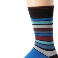 PACT Men's Navy Bootstrap Stripe Crew Sock, Blue, One Size