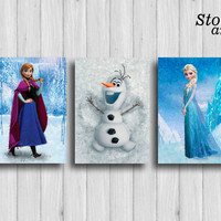 frozen poster set of 3 : anna olaf elsa frozen decor disney gifts