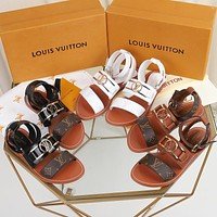 LV Louis Vuitton Women's Leather Sandals Shoes