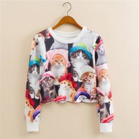 Stylish Round-neck Pullover Print Long Sleeve Hoodies [9101512519]