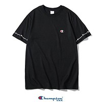 Champion New fashion embroidery logo letter print couple top t-shirt Black