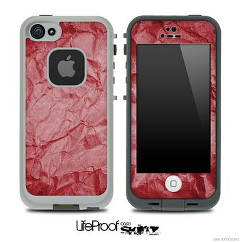 Crumpled red Paper Skin for the iPhone 5 or 4/4s LifeProof Case