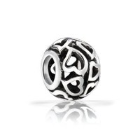 Bling Jewelry Filigree Open Heart Bead Sterling Silver Fits Pandora Charms