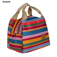 Lunch Bag Insulated Tote Cooler Zipper Bag Thermal Bag Pouch rainbpw color striped Picnic Bags cooler lancheira #yl123