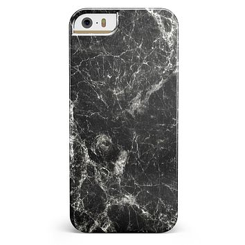 Black Scratched Marble iPhone 5/5s or SE INK-Fuzed Case