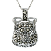 Sterling Silver & Marcasite Novelty Purse Pendant