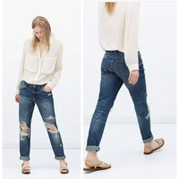Summer Women's Fashion Ripped Holes Slim Jeans [6514255047]