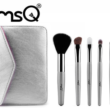 MSQ 5pcs Animal Hair Wood Wand Makeup Brush Set Cosmetic Travel Make Up Brushes  With a Beauty PU leather Bag