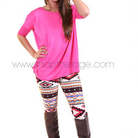 Bright Pink 3/4 Sleeve Piko   The Rage