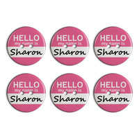Sharon Hello My Name Is Plastic Resin Button Set of 6