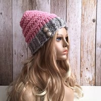 Chunky grey marble and peony pink knitted women hat beanie, gift or for you