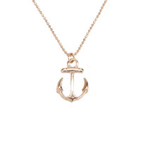 Rose Gold Anchor Charm Necklace