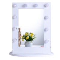 Chende White Hollywood Makeup Vanity Mirror with Light Tabletops Lighted Mirror with Dimmer Christmas Gift