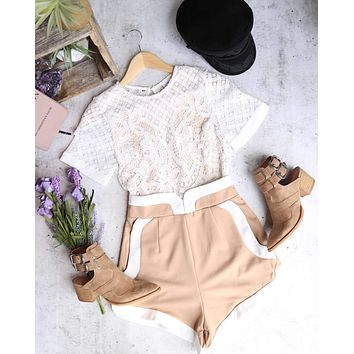 On The Run Structured Romper in White/Beige