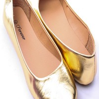 GOLD METALLIC FAUX LEATHER ROUND TOE BALLET FLATS