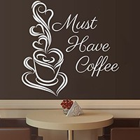 Wall Decals Quotes Vinyl Sticker Decal Quote Must Have Coffee Cup of Coffee Kitchen Cafe Phrase Home Decor Art Design Interior NS493