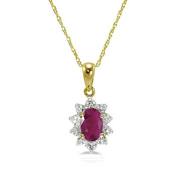 10K Yellow Gold Oval Ruby and Diamond Pendant-Necklace  ( 18in Chain)