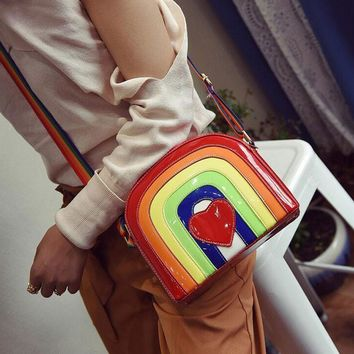 LJT 2017 New Ladies PU Leather Personality Rainbow Modeling Stitching Color Red Hearts Crossbody Bag Cute Lady Summer Beach Bag