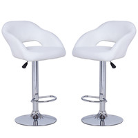 White Leatherette Bar Stools with Low Cut Out Back (Set of two)
