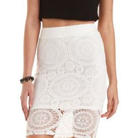 Ivory Medallion Lace Pencil Skirt by Charlotte Russe