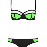 Fashion Womens Push Up Two Piece Sexy Biniki Swimsuit Triangl Beachwear (XL(US8-10), Green+Black+White)