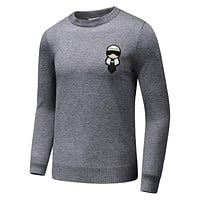 FENDI 2018 autumn and winter little monster badge embroidery men's round neck knit sweater Grey