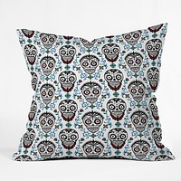 Andi Bird Sugar Skull Voodoo Throw Pillow