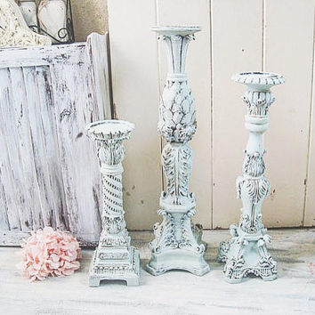 French Blue Ornate Tall Candleholders, Light Blue Shabby Chic Candlestick Holders, Wedding Candleholders, Mantle Decor, Nursery Decor