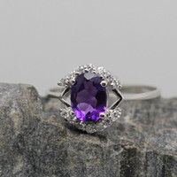 Genuine Amethyst with Zircon Silver Ring, 925 Amethyst Ring, February Birthstone, Birthdays, Wedding. Anniversary, Valentine Gift