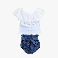 Kids Baby Girls Clothing Set Lace Short Sleeve T-shirt + Denim bow knot Triangle shorts Outfits Clothes