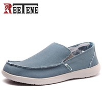 REETENE Canvas Men Shoes Loafers 2017 Fashion Brand Canvas Shoes Comfort Breathable Slip On Casual Shoes Autumn Flats Big Size