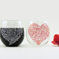 Stemless wine glasses - Set of 4 hand painted red wine glasses - Sweetheart collection